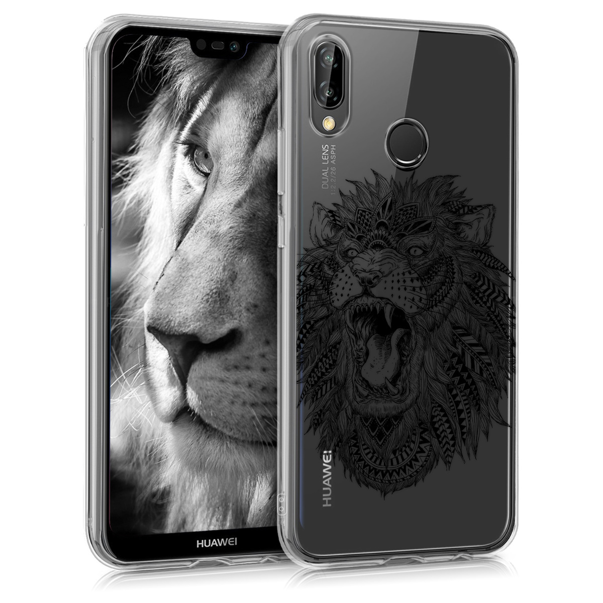 979de2932 kwmobile TPU Case for Huawei P20 Lite - Soft TPU Silicone Cover - Crystal  Clear Back Case IMD Design - Black / Transparent. ‹ › ‹ › ‹ › ‹ ›