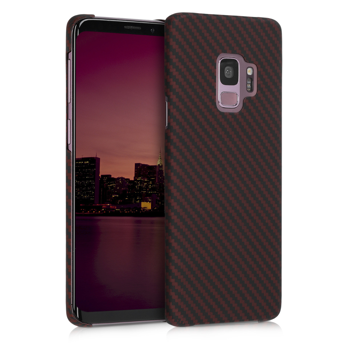 Pouzdro pro Samsung Galaxy S9 - Strong Solid Aramid Fiber Body Armor Hard Back Cover - Dark Red