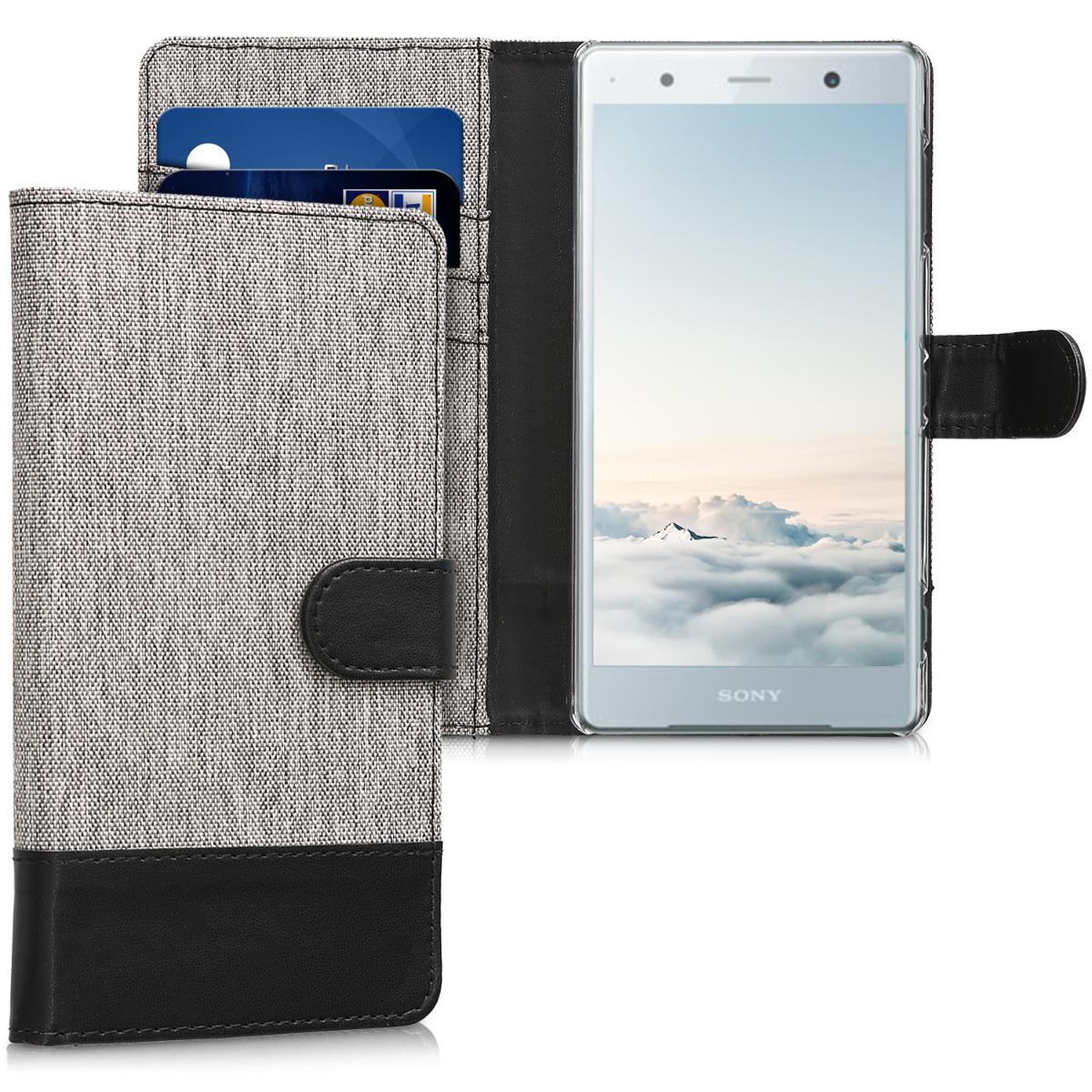 Textilní látkové pouzdro | obal pro Sony Xperia XZ2 Premium - šedé/ černé