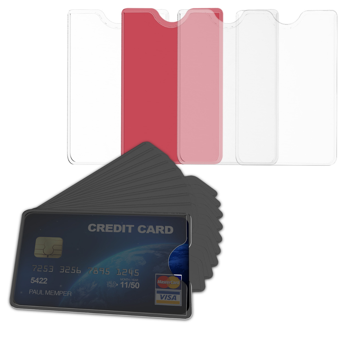 10x Transparent Credit Card Sleeve Protector For Id Business Ssn