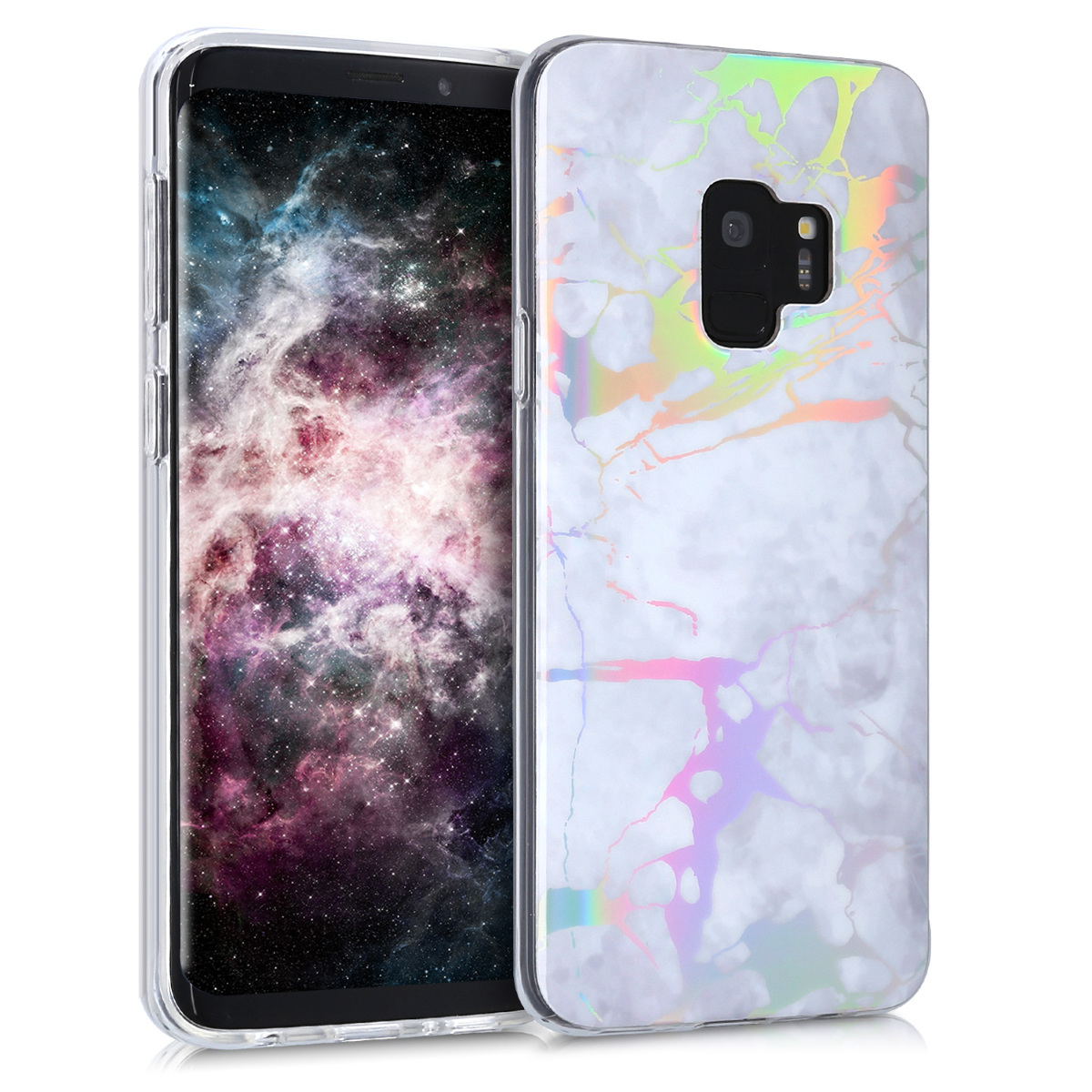 Pouzdro pro Samsung Galaxy S9 - TPU Crystal Clear Back Protective Cover IMD Design - Marble White / Silver