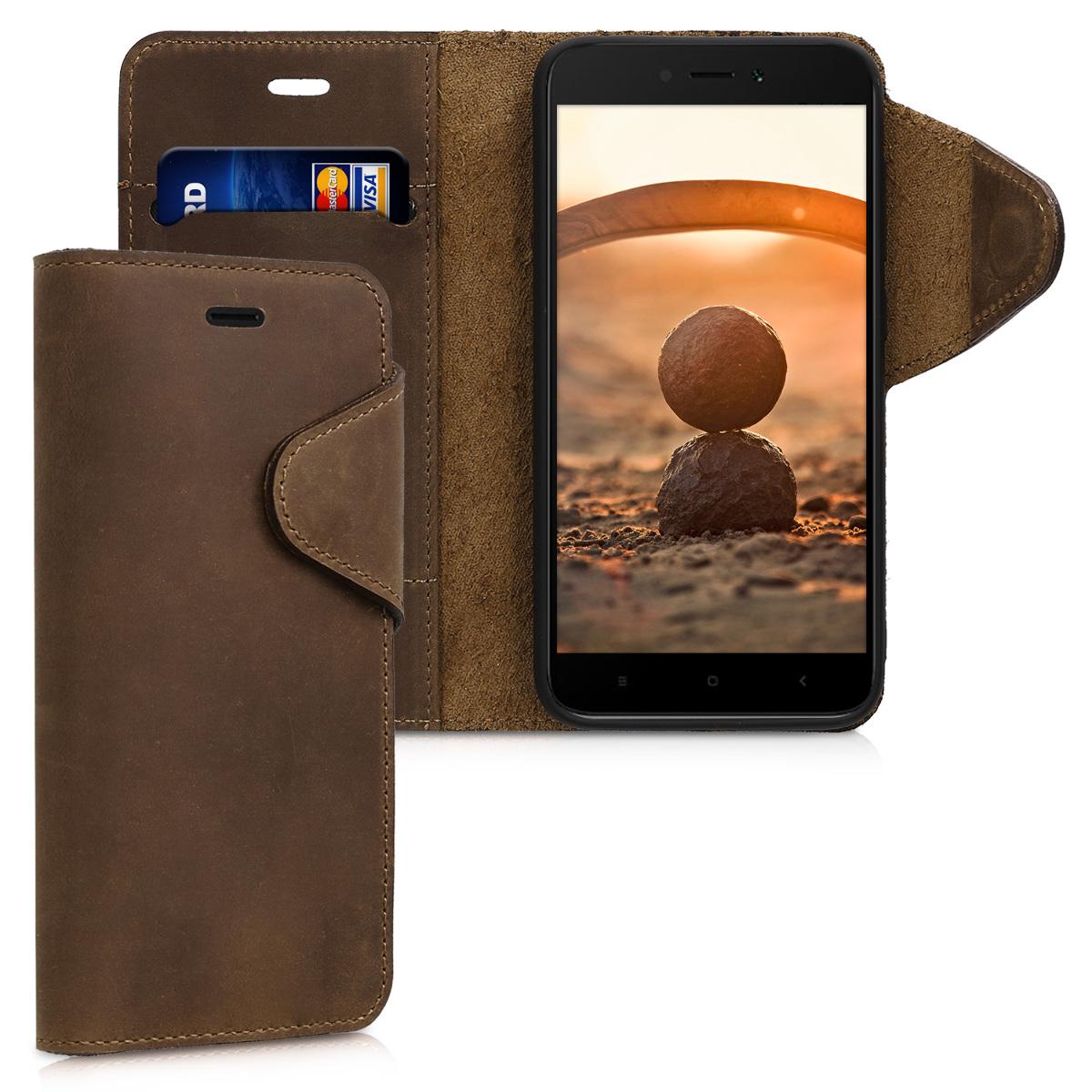 Kožené pouzdro | obal pro Xiaomi Redmi 5A - Hnědý