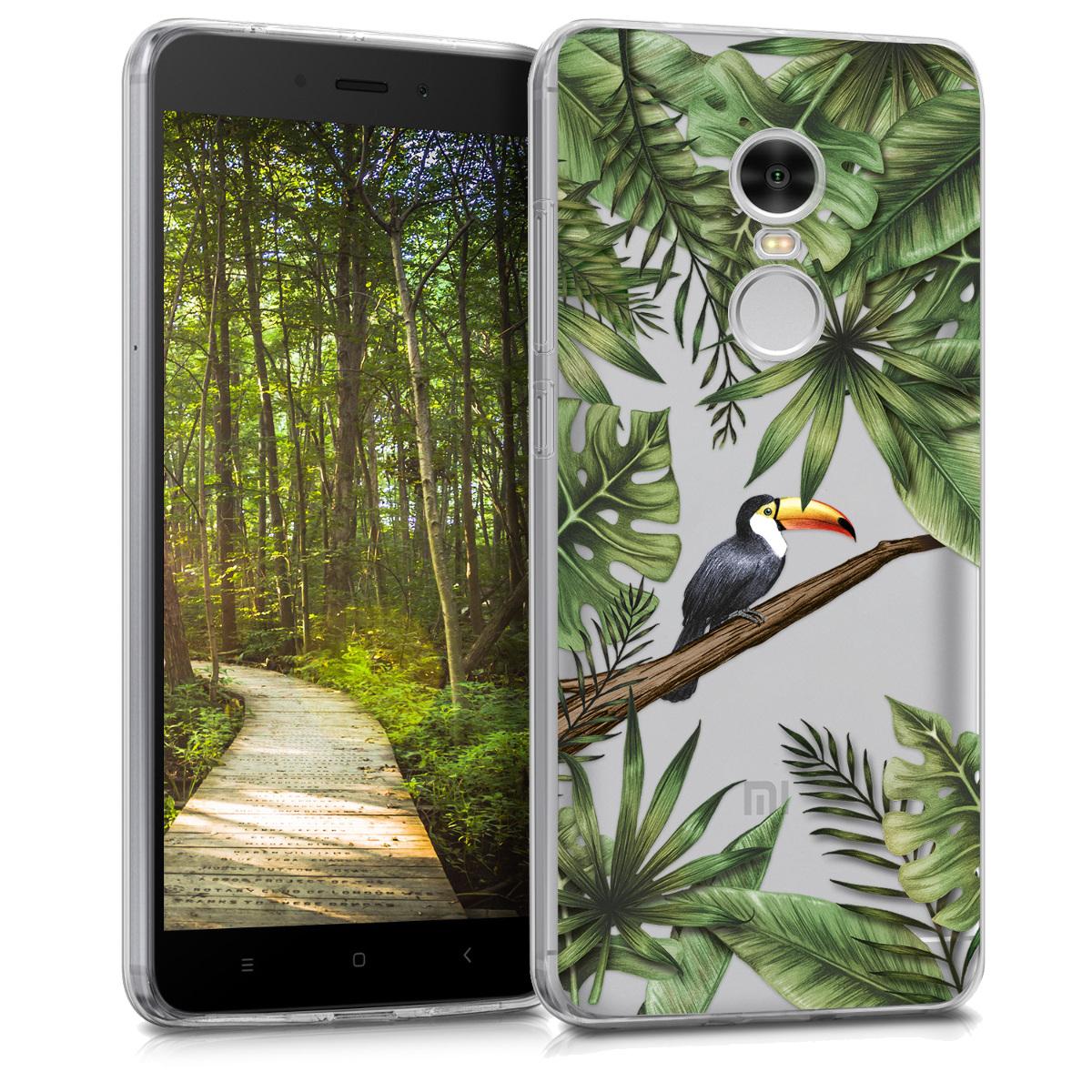 Kvalitní silikonové TPU pouzdro | obal pro Xiaomi Redmi 5 Plus | Redmi Note - džungle tukan zelený / černý / transparentní