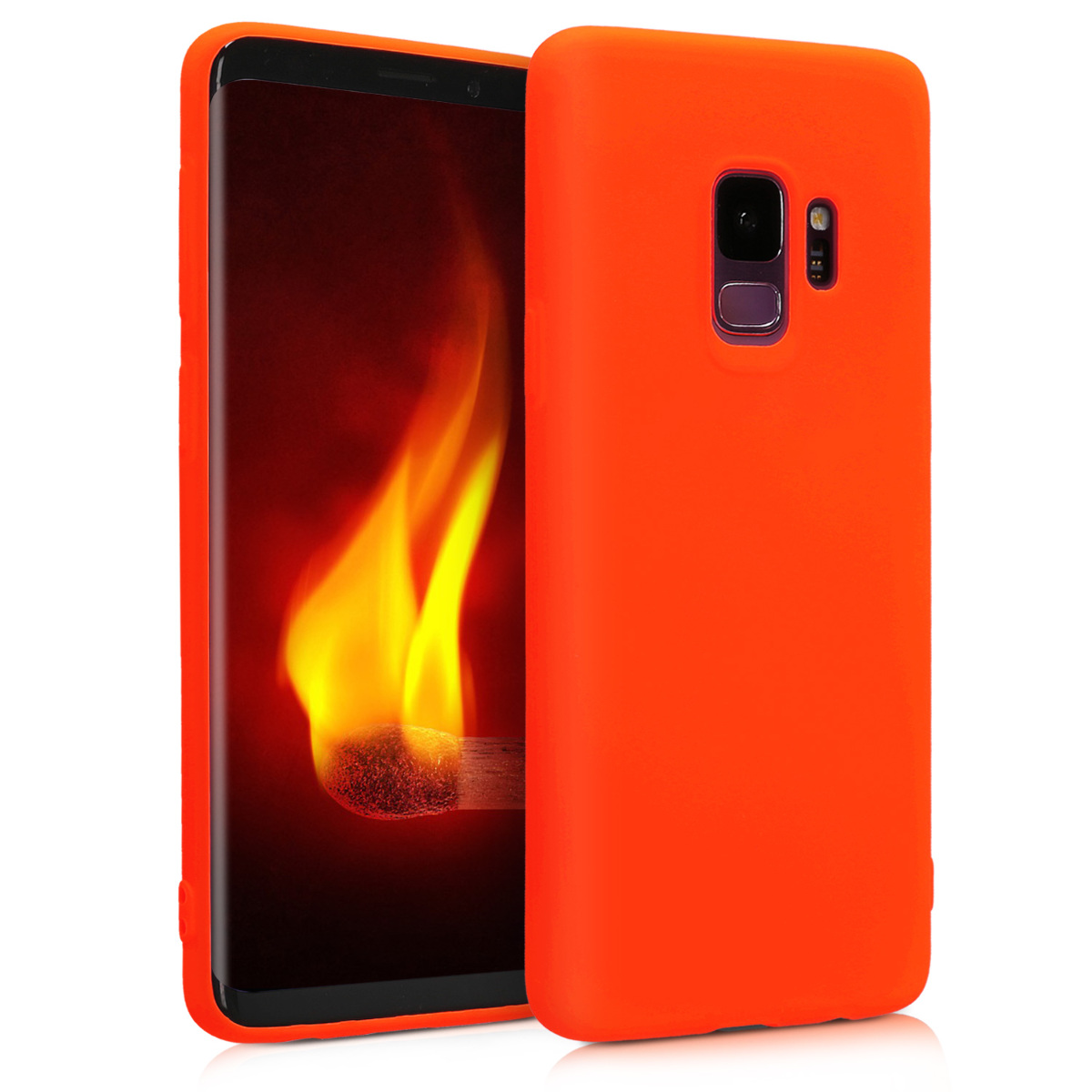 Kvalitní silikonové TPU pouzdro pro Samsung S9 - neonově oranžové