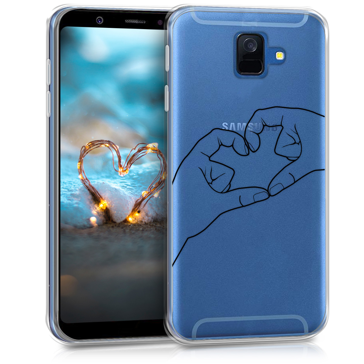 Kvalitní silikonové TPU pouzdro pro Samsung A6 (2018) - Heart Sign černé / transparentní