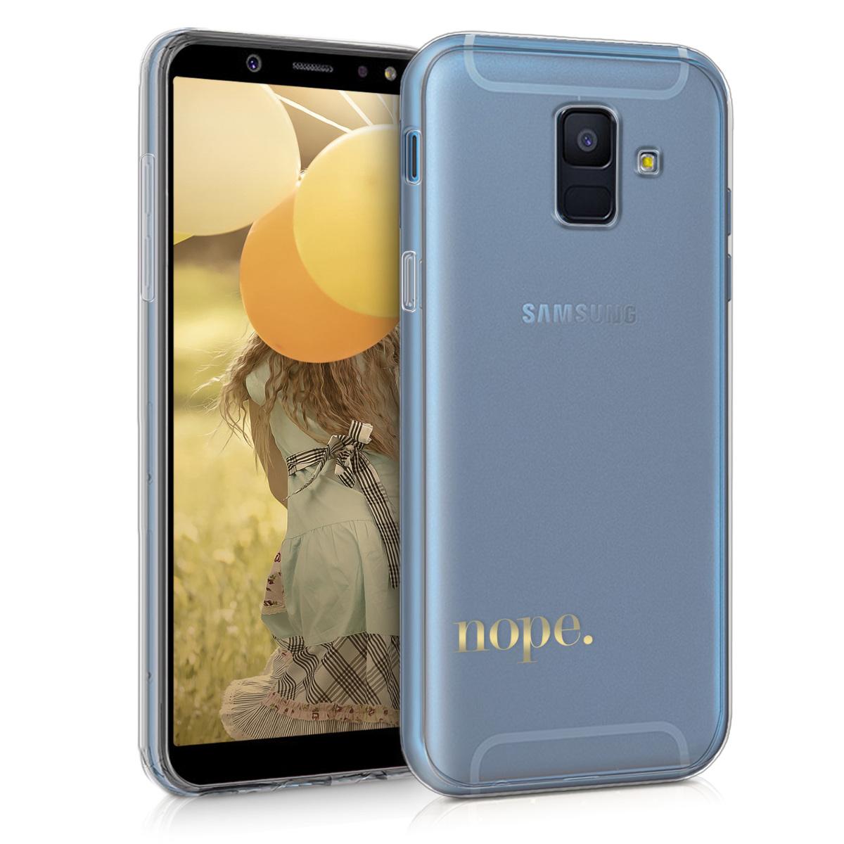 Kvalitní silikonové TPU pouzdro pro Samsung A6 (2018) - Ne Gold / transparentní