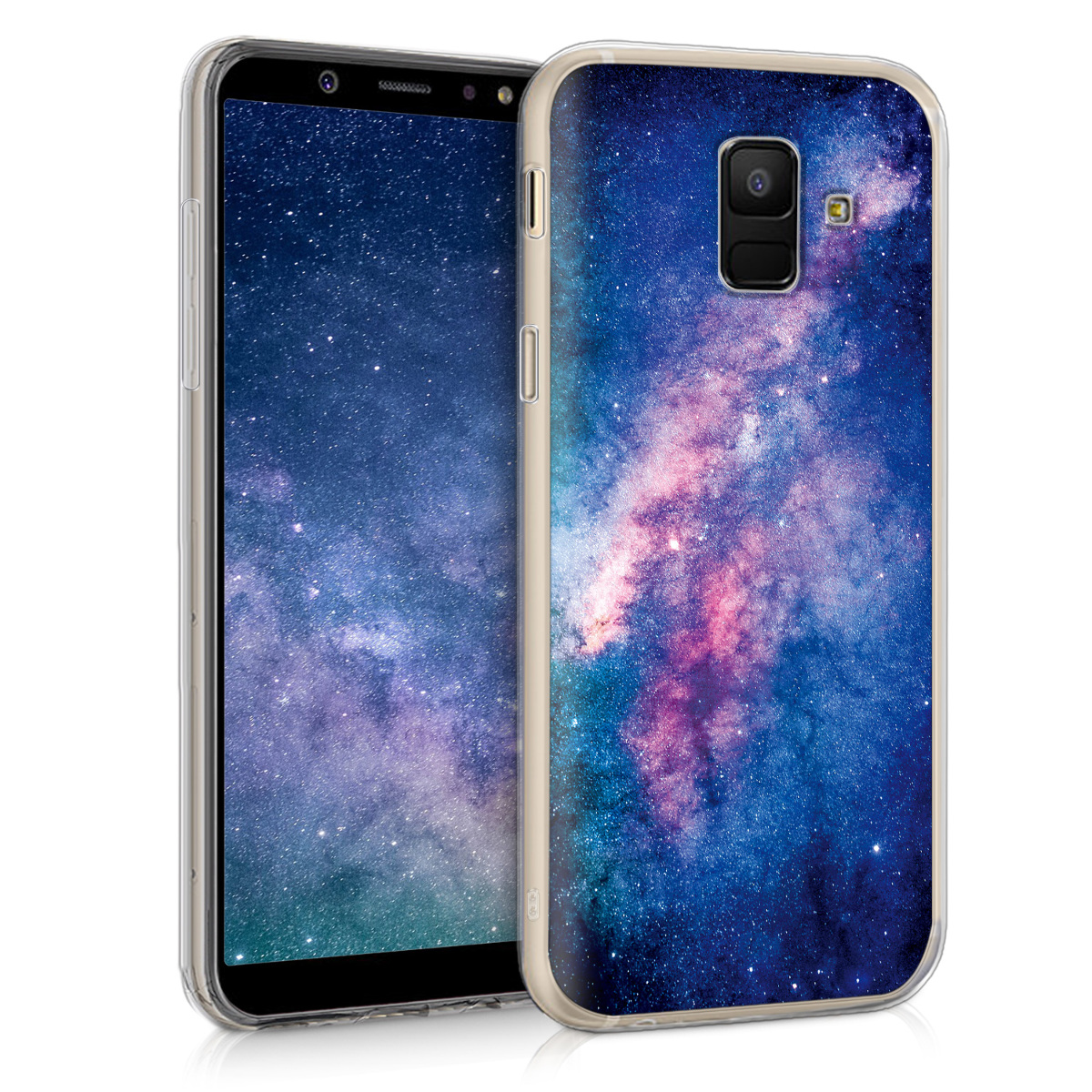 Kvalitní silikonové TPU pouzdro pro Samsung A6 (2018) - Starry Galaxy světle  růžová / tmavě růžová / tmavě modré