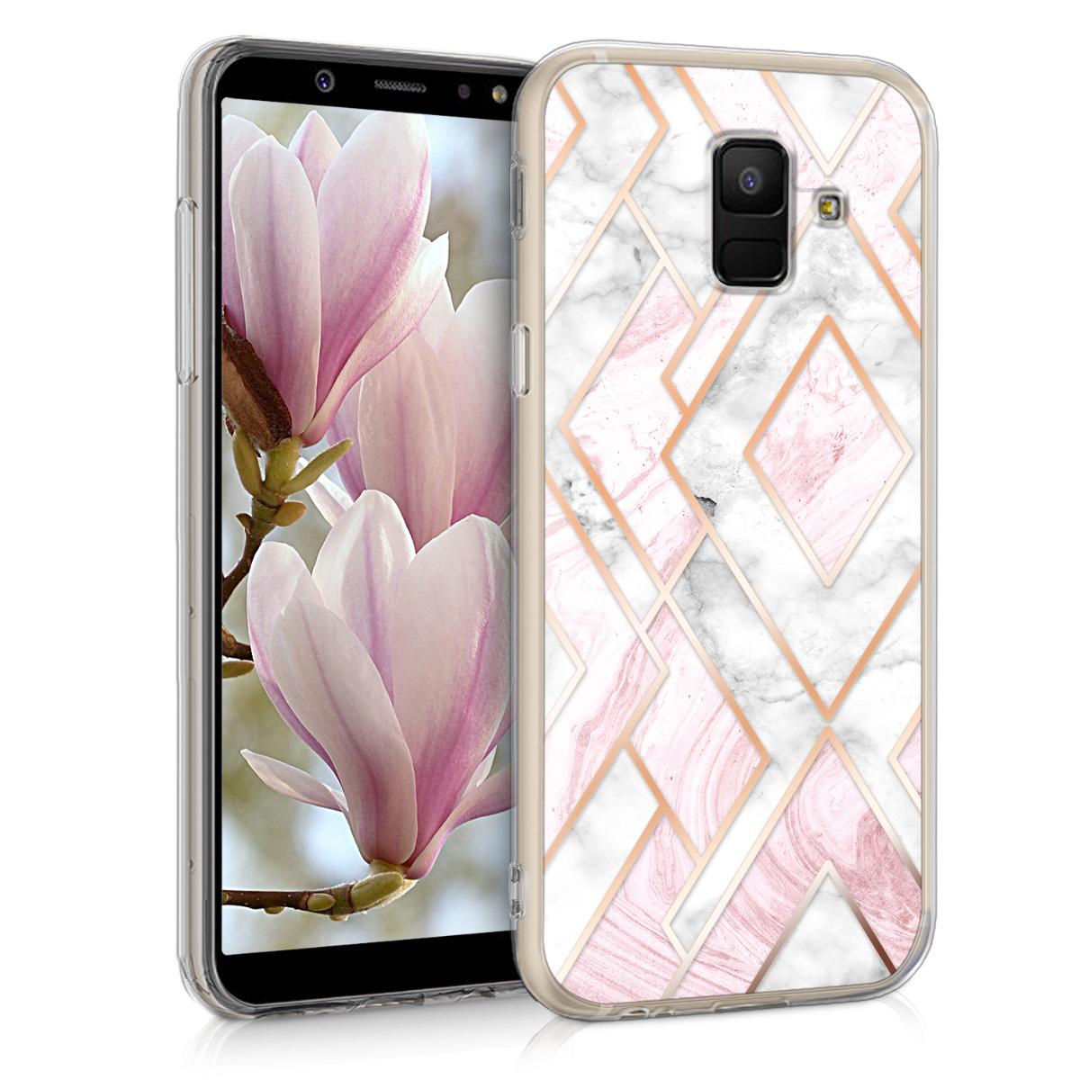 Kvalitní silikonové TPU pouzdro pro Samsung A6 (2018) - Glory Mix 2 starorůžové rosegold / bílé / růžové Dusty