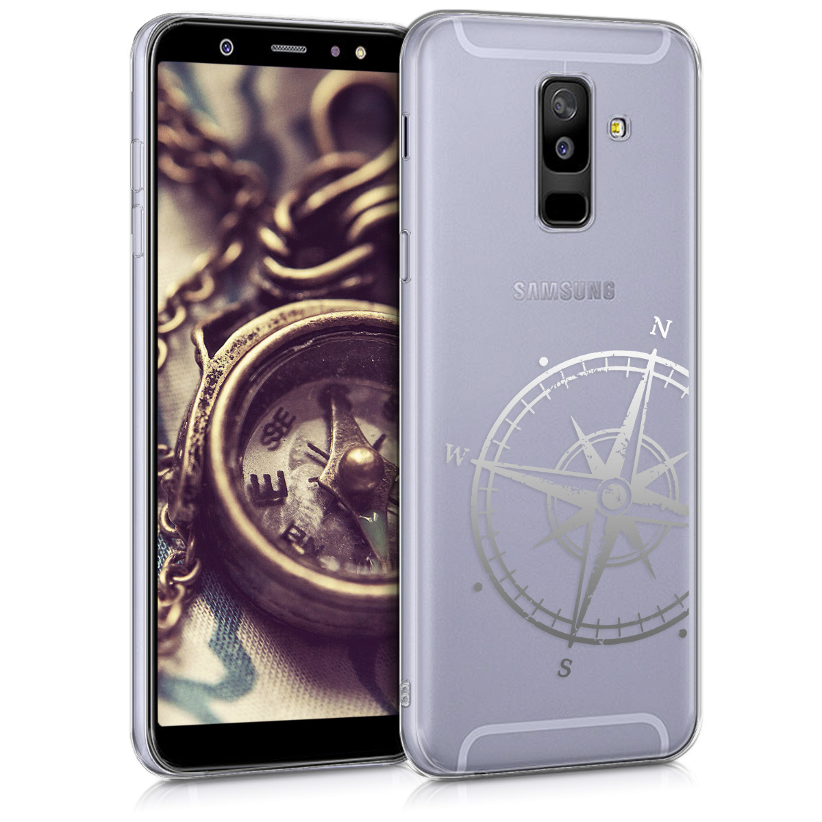 Kvalitní silikonové TPU pouzdro pro Samsung A6+|A6 Plus (2018) - Navigační Compass stříbrné / transparentní