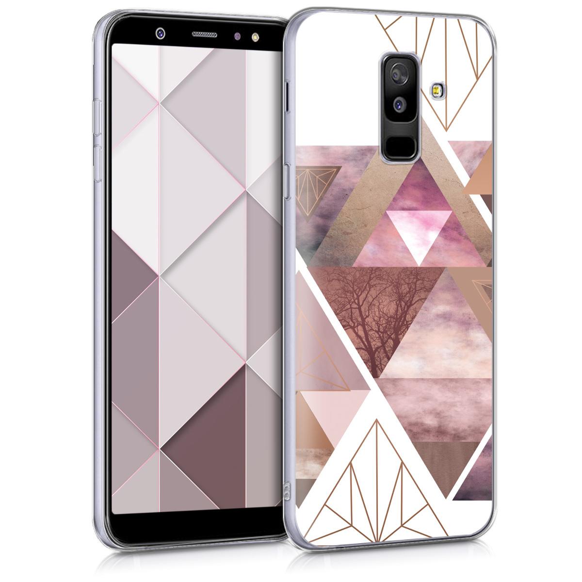 Kvalitní silikonové TPU pouzdro pro Samsung A6+|A6 Plus (2018) - Patchwork trojúhelníky světle růžové / starorůžové rosegold / bílé