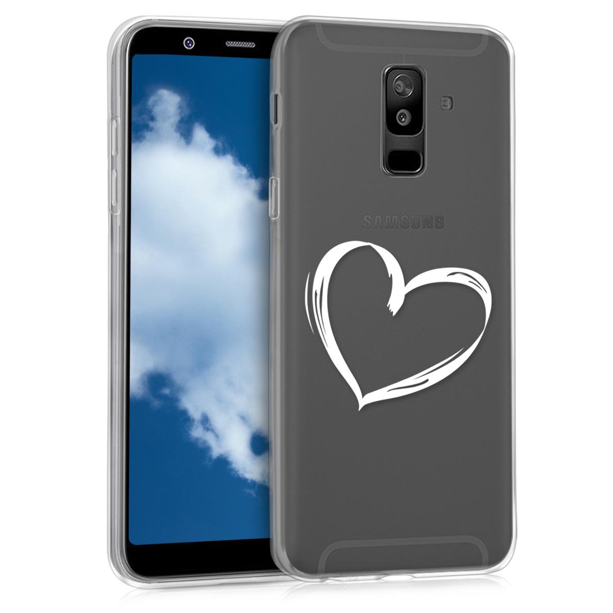 Kvalitní silikonové TPU pouzdro pro Samsung A6+|A6 Plus (2018) - Brushed Heart bílé / transparentní