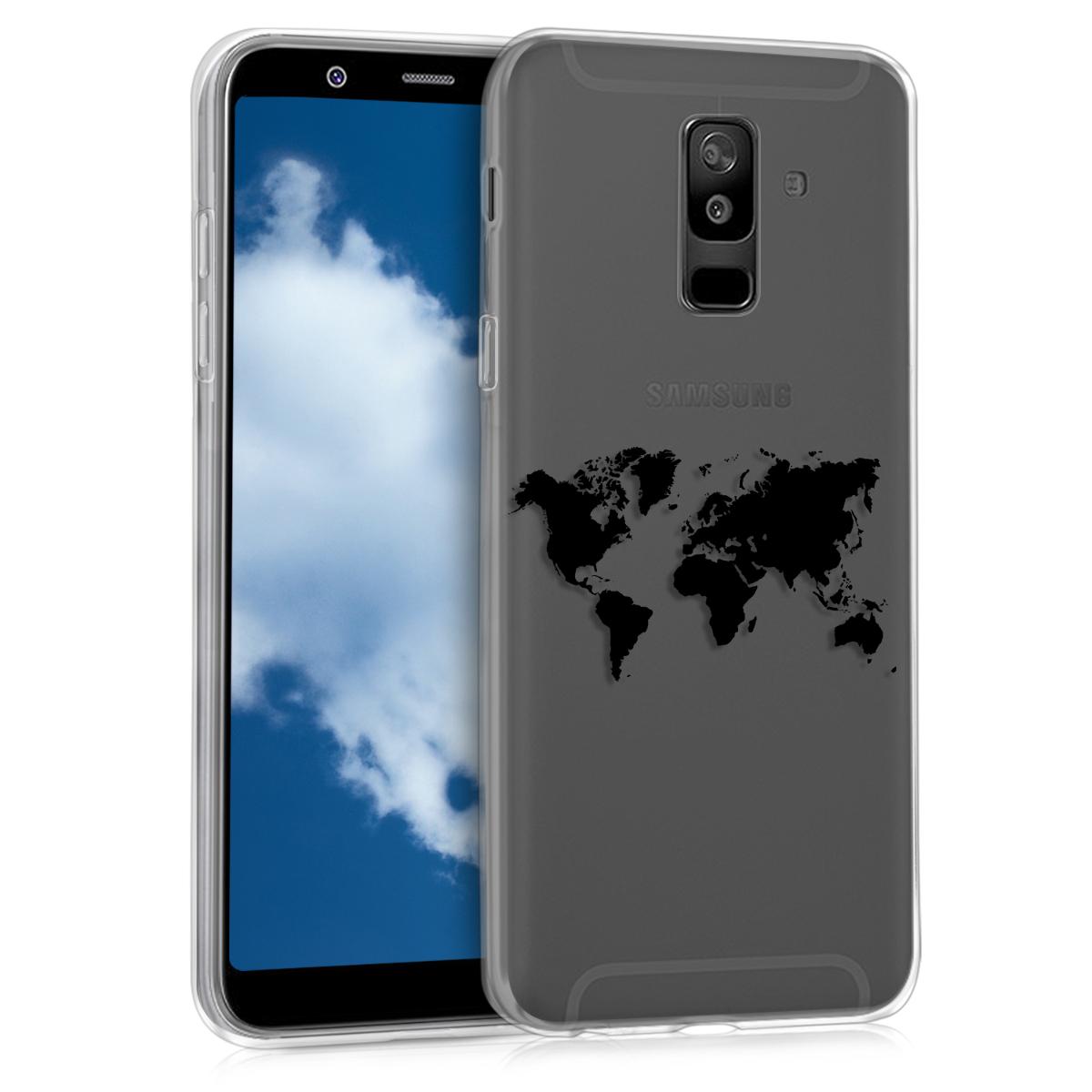 Kvalitní silikonové TPU pouzdro pro Samsung A6+|A6 Plus (2018) - Travel Outline černé / transparentní