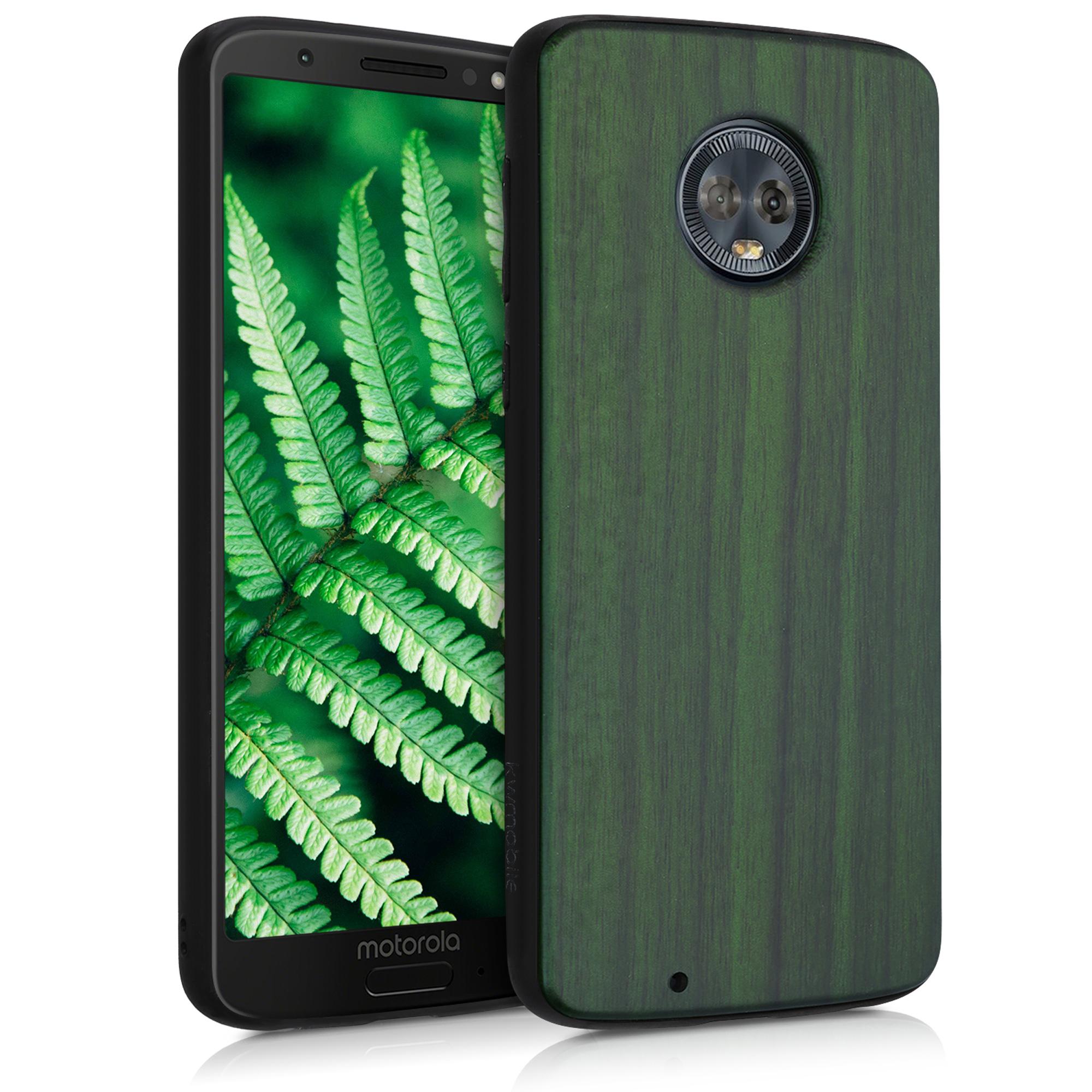 Dřevěné pouzdro | obal pro Motorola Moto G6 - Tmavě zelená