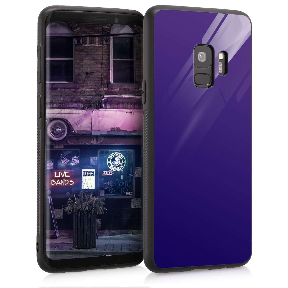 Tempered Glass Back Cover Compatible with Samsung Galaxy S9 - Scratch-Resistant Hard Case - Blue High Gloss