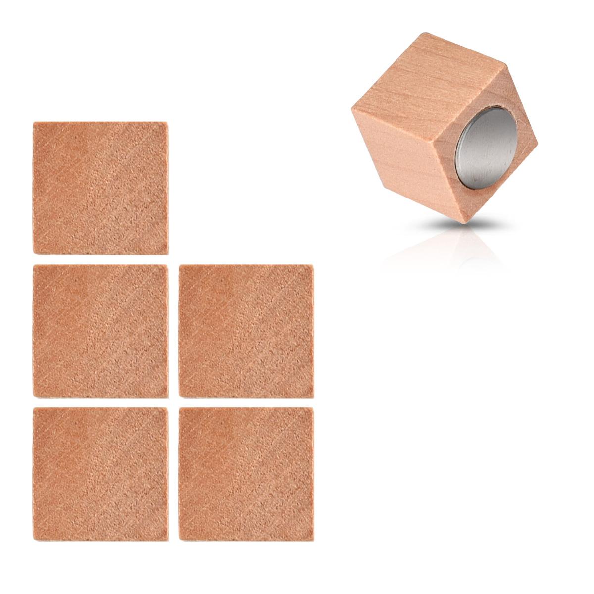 Holz Magnete Kühlschrank Neodym Magnet Set 6x Kühlschrankmagnete eckig stark