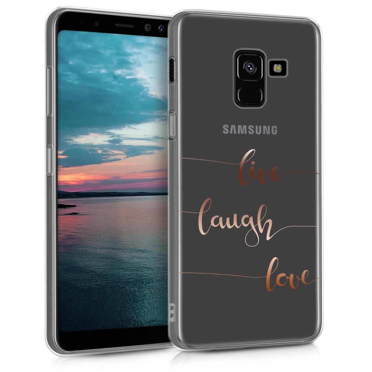 Kvalitní silikonové TPU pouzdro pro Samsung A8 (2018) - Žít, smích, láska starorůžové rosegold / transparentní