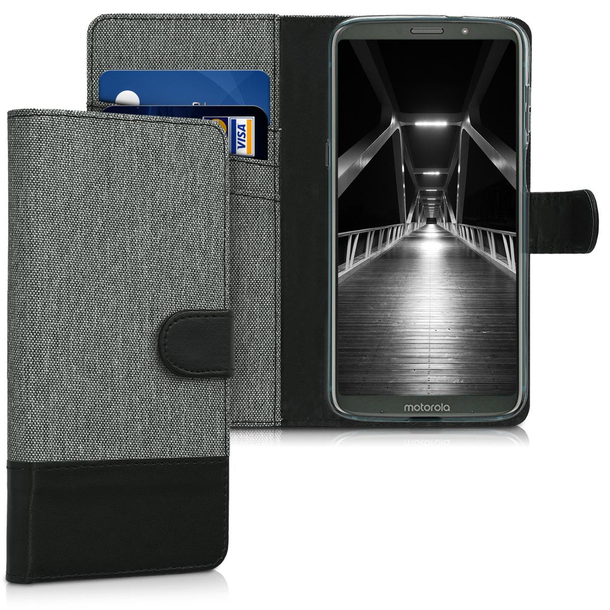 Textilní látkové pouzdro | obal pro Motorola Moto Z3 Play - Šedá / černá