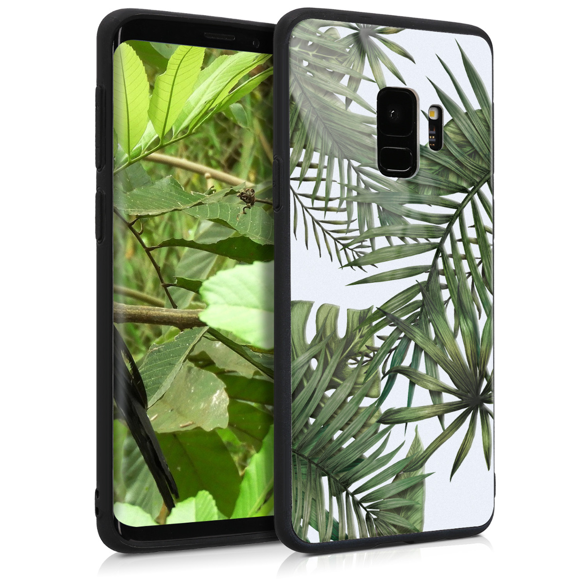 HardPouzdro pro Samsung Galaxy S9 Smartphone - 3D Print Hybrid PC / TPU Back Cover - Palm Leaves Green / White