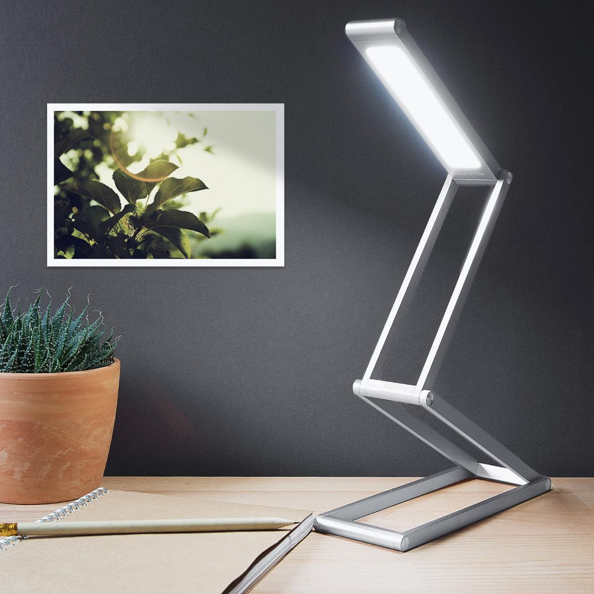 led aluminium leselampe mit schwenkkopf akku tischlampe. Black Bedroom Furniture Sets. Home Design Ideas