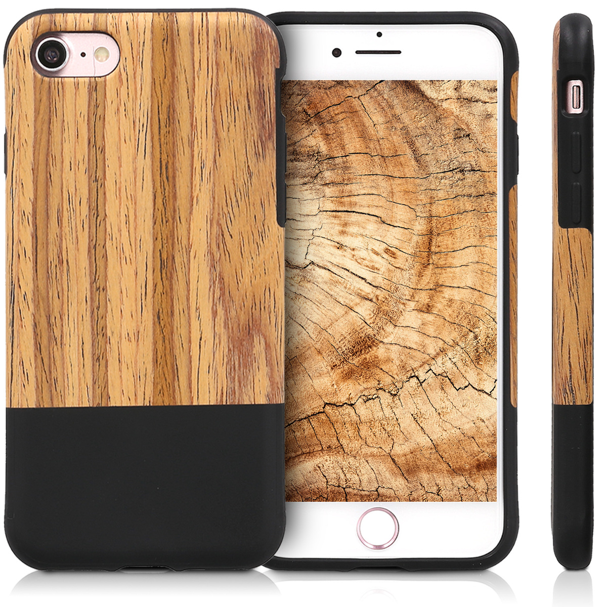 handyh lle f r apple iphone 7 8 h lle handy case holz cover silikon schutzh lle ebay. Black Bedroom Furniture Sets. Home Design Ideas