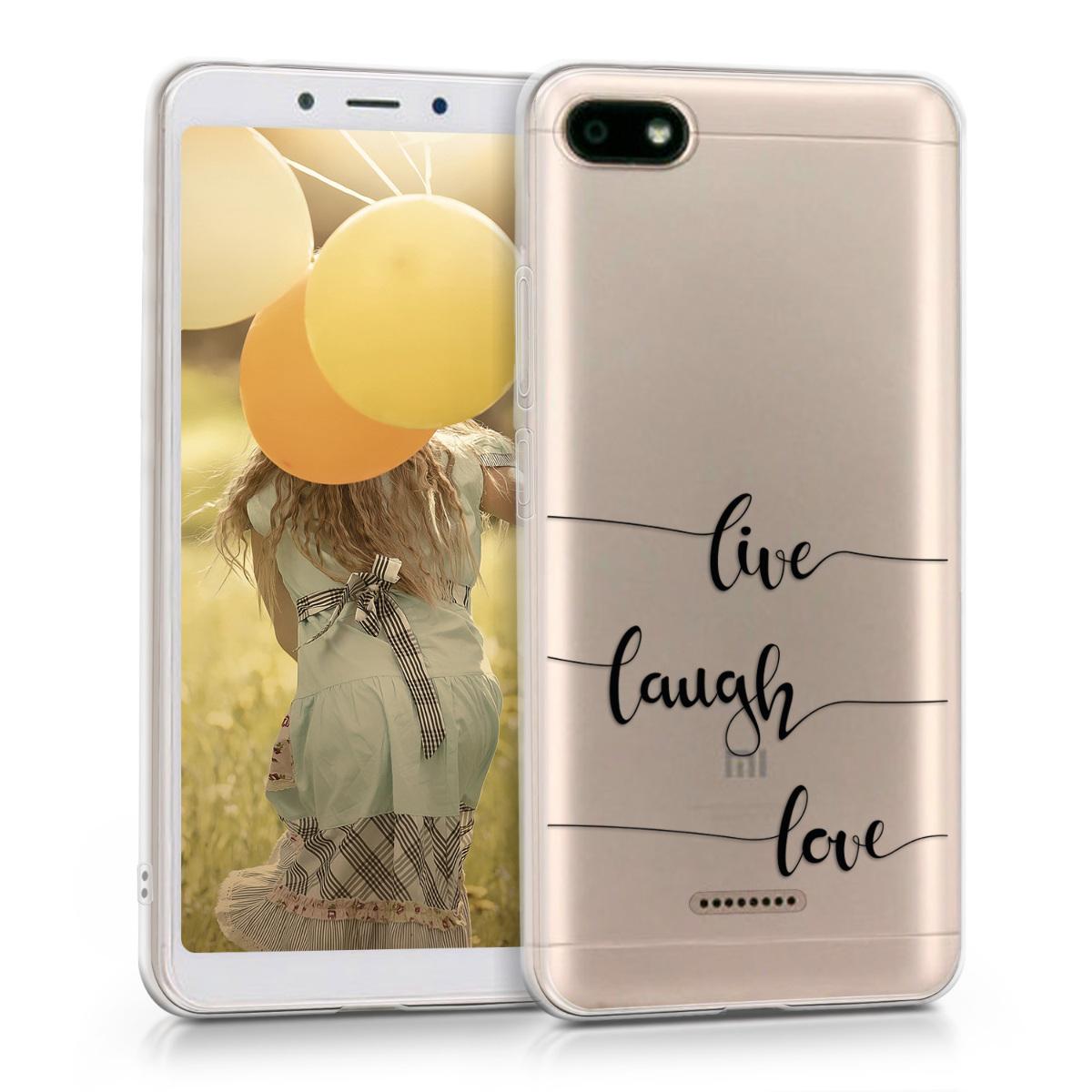 Kvalitní silikonové TPU pouzdro | obal pro Xiaomi Redmi 6A - Žít, smích, láska černý / transparentní