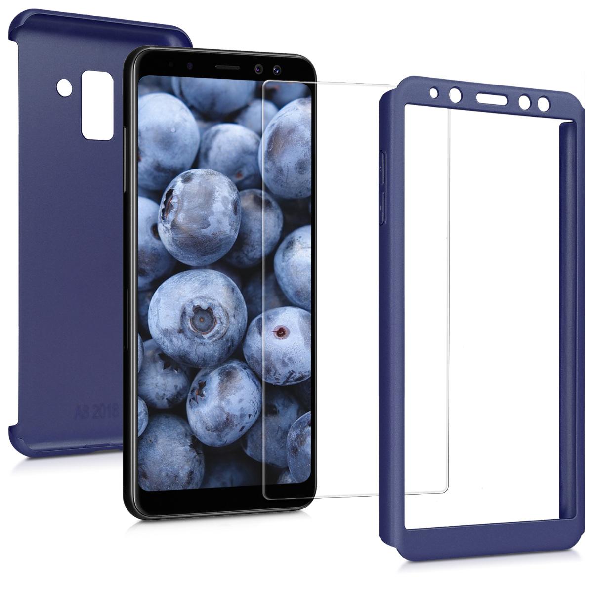 Kvalitní plastové pouzdro pro Samsung A8 (2018) - modré metalické