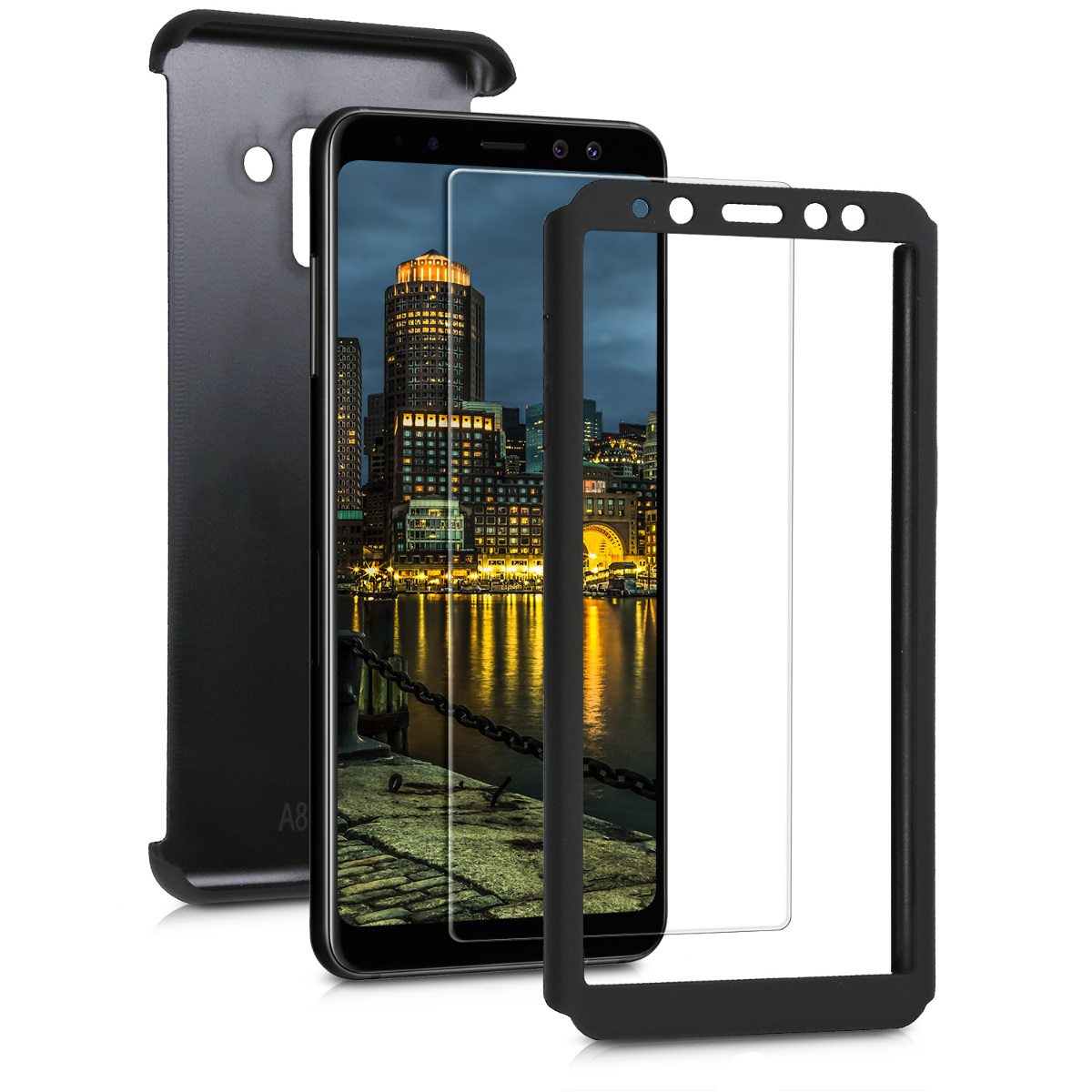 Kvalitní plastové pouzdro pro Samsung A8 (2018) - metalické černé