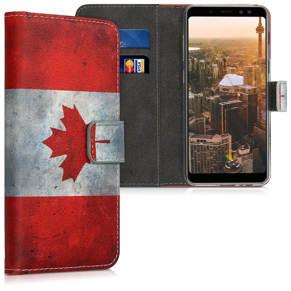 Kožené pouzdro pro Samsung A8 (2018) - Kanadská vlajka červené / bílé