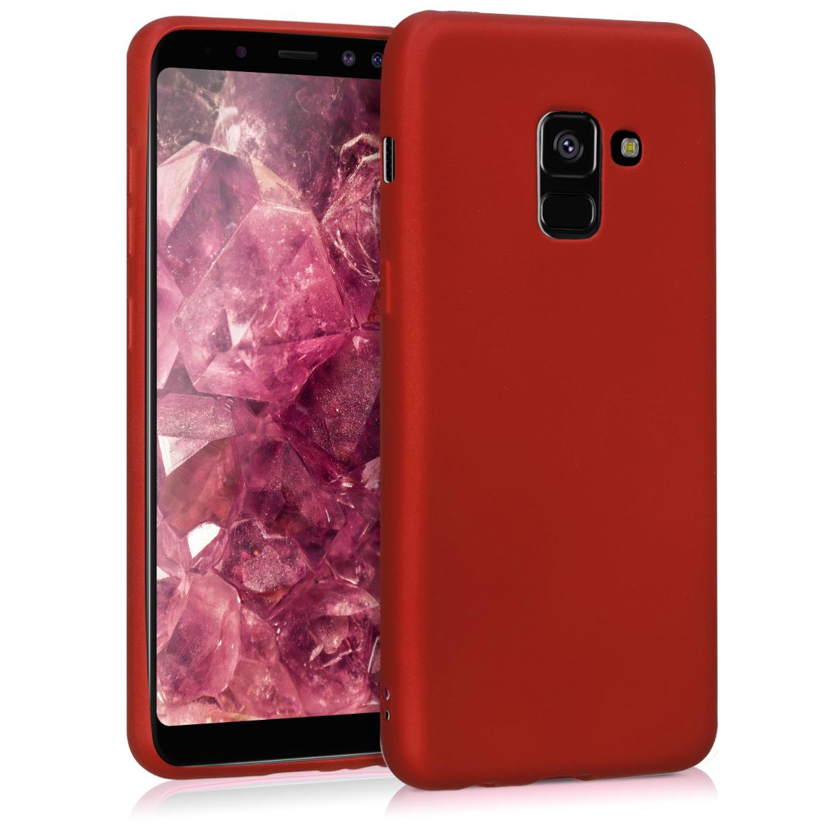 Kvalitní silikonové TPU pouzdro pro Samsung A8 (2018) - metalické tmavě červená