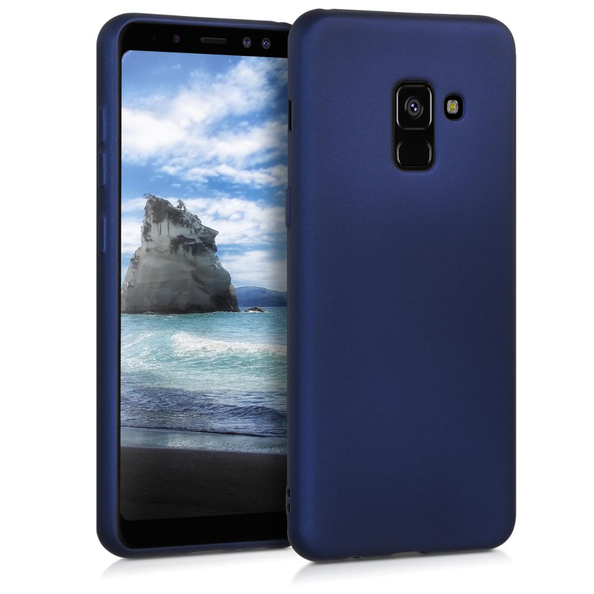 Kvalitní silikonové TPU pouzdro pro Samsung A8 (2018) - modré metalické