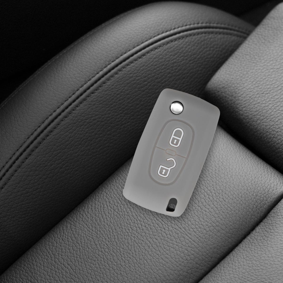 - Case de Mando de Auto con dise/ño de Rally kwmobile Funda para Llave Plegable de 3 Botones para Coche Peugeot Citroen Silicona de Suave Carcasa Protectora
