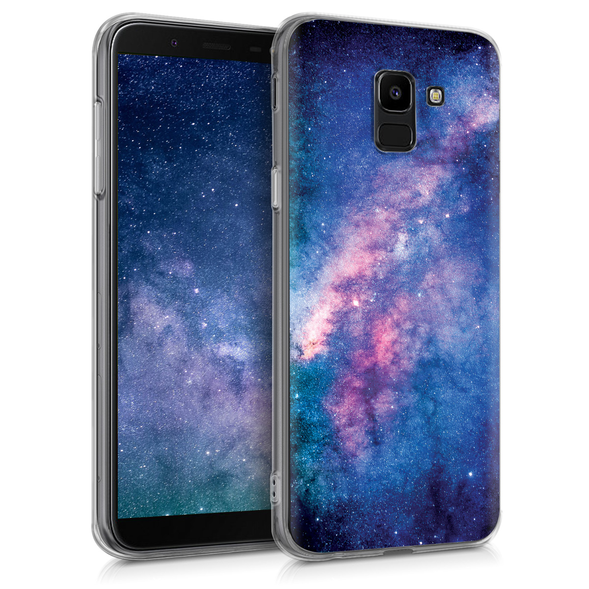 Kvalitní silikonové TPU pouzdro pro Samsung J6 - Starry Galaxy světle  růžová / tmavě růžová / tmavě modré