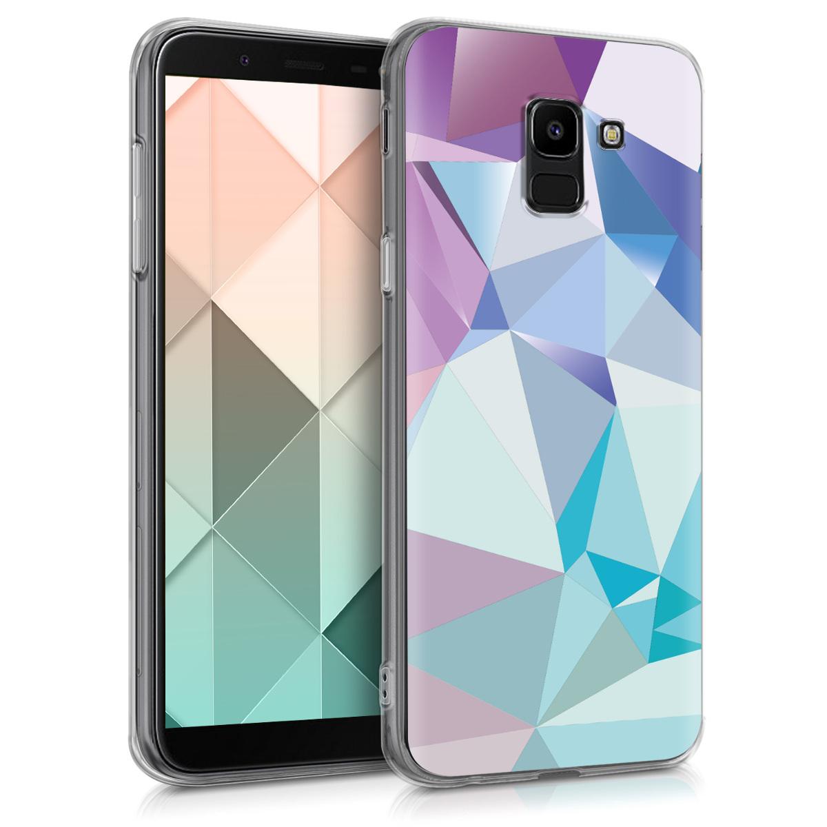 Kvalitní silikonové TPU pouzdro pro Samsung J6 - 3D trojúhelníky světle  modré / světle  růžová / modré