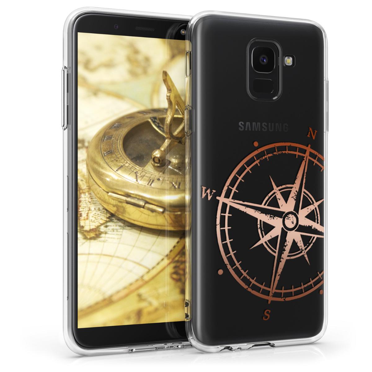 Kvalitní silikonové TPU pouzdro pro Samsung J6 - Navigační Compass starorůžové rosegold / transparentní