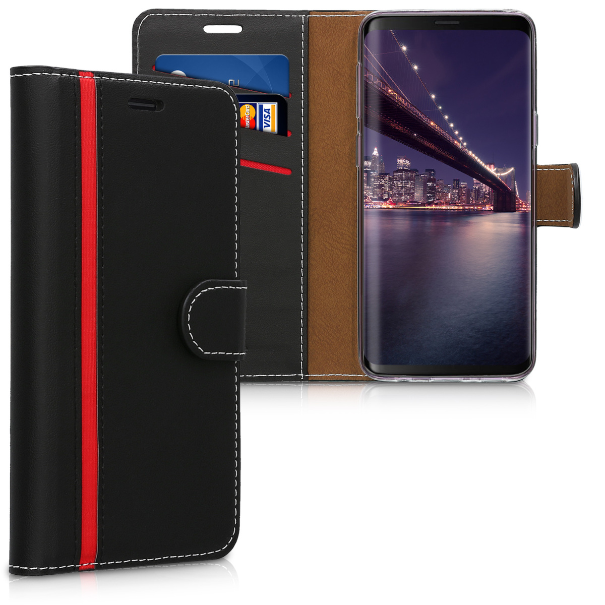 Pouzdro peněženka pro Samsung Galaxy S9 - PU Leather Flip Cover with Magnetic Closure, Card Slots and Kickstand - Black / Red