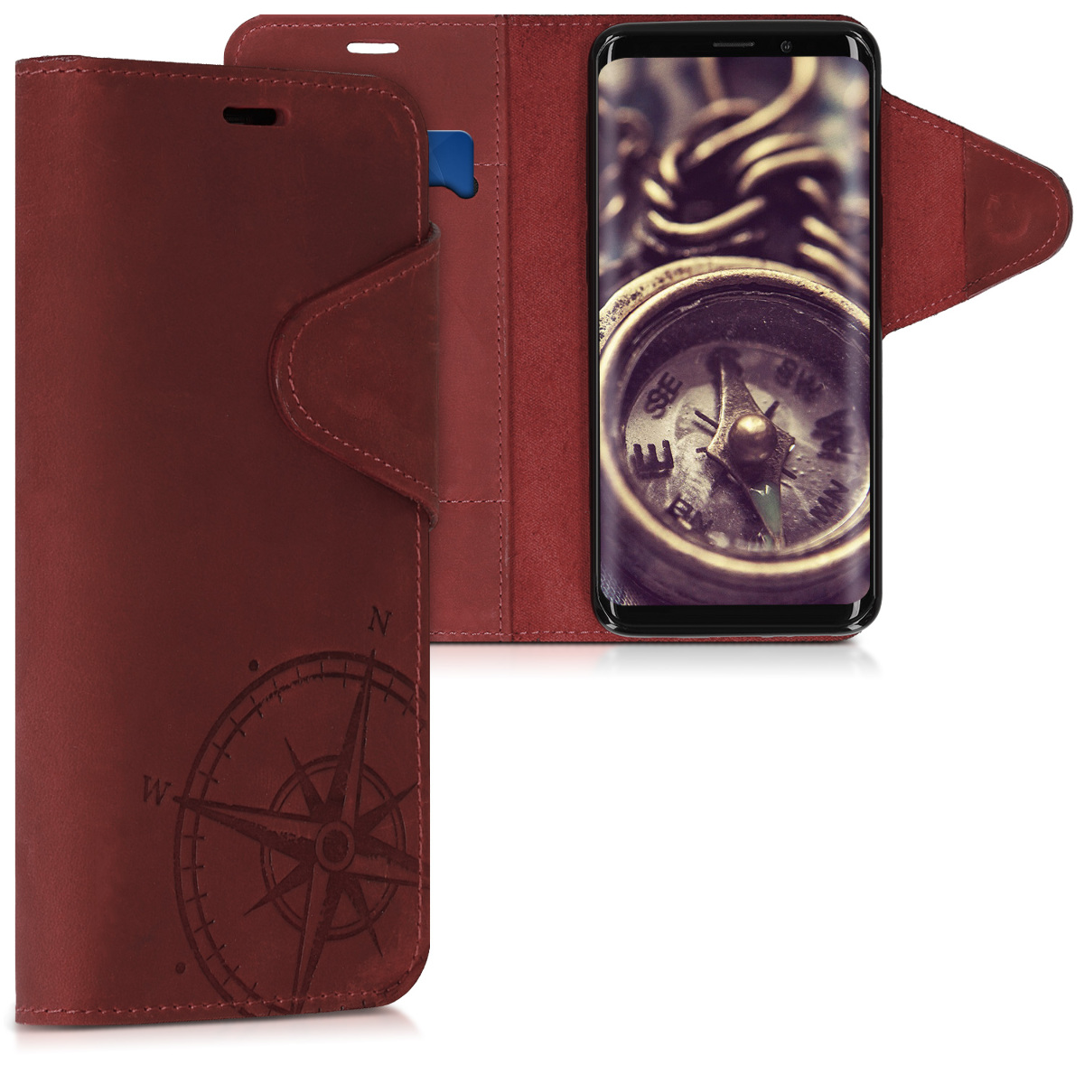 Pouzdro peněženka pro Samsung Galaxy S9 - Real Leather Book Style Cover with Card Slot - Navigational Compass Dark Red
