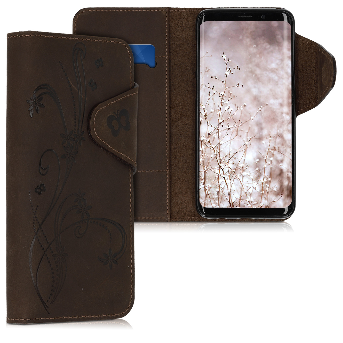 Pouzdro peněženka pro Samsung Galaxy S9 - Real Leather Book Style Cover with Card Slot - Butterfly Tendril Brown
