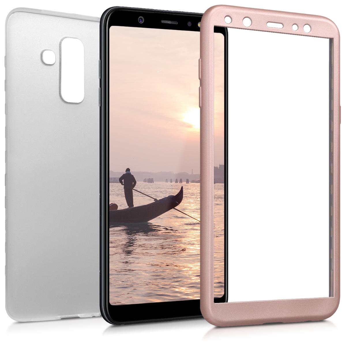 Kvalitní silikonové TPU pouzdro pro Samsung A6+|A6 Plus (2018) - metalické starorůžové rosegold