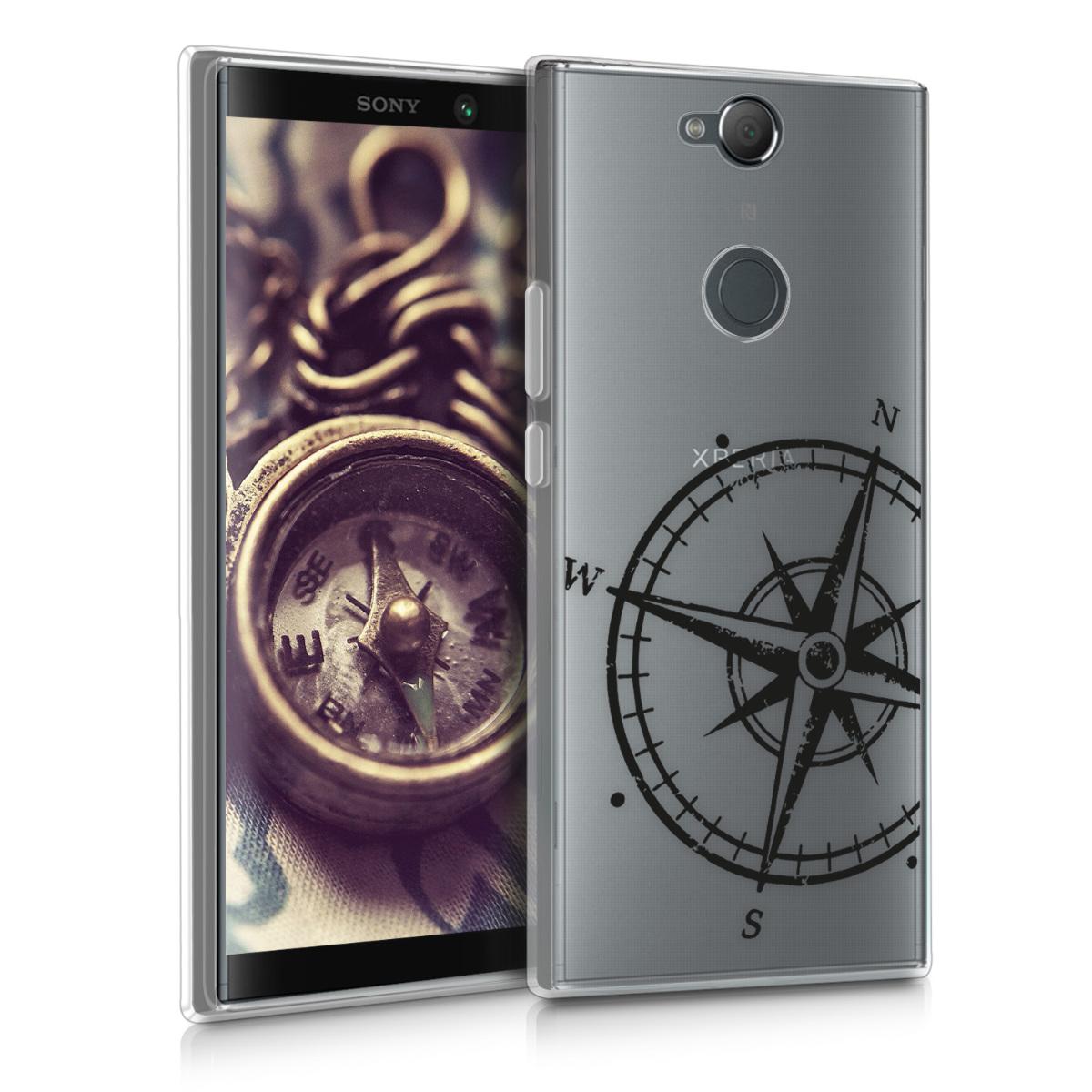 Kvalitní silikonové TPU pouzdro | obal pro Sony Xperia XA2 Plus - Navigační kompas černé / průhledné