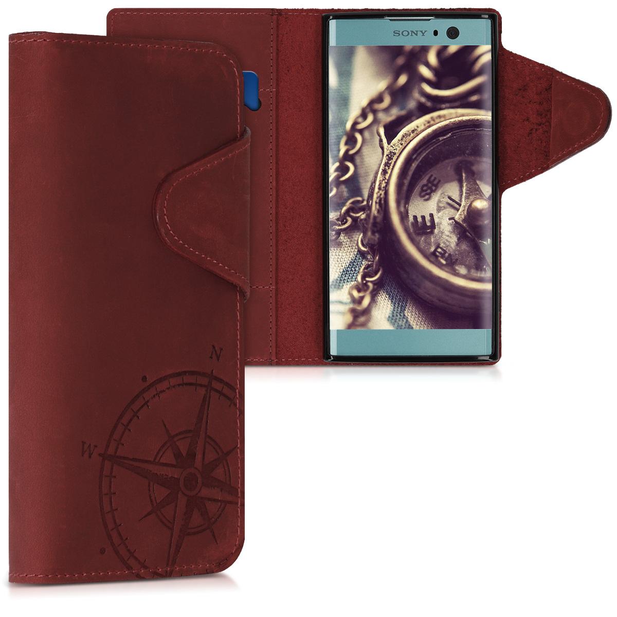 Kožené pouzdro | obal pro Sony Xperia XA2 - Navigační kompas tmavě červená