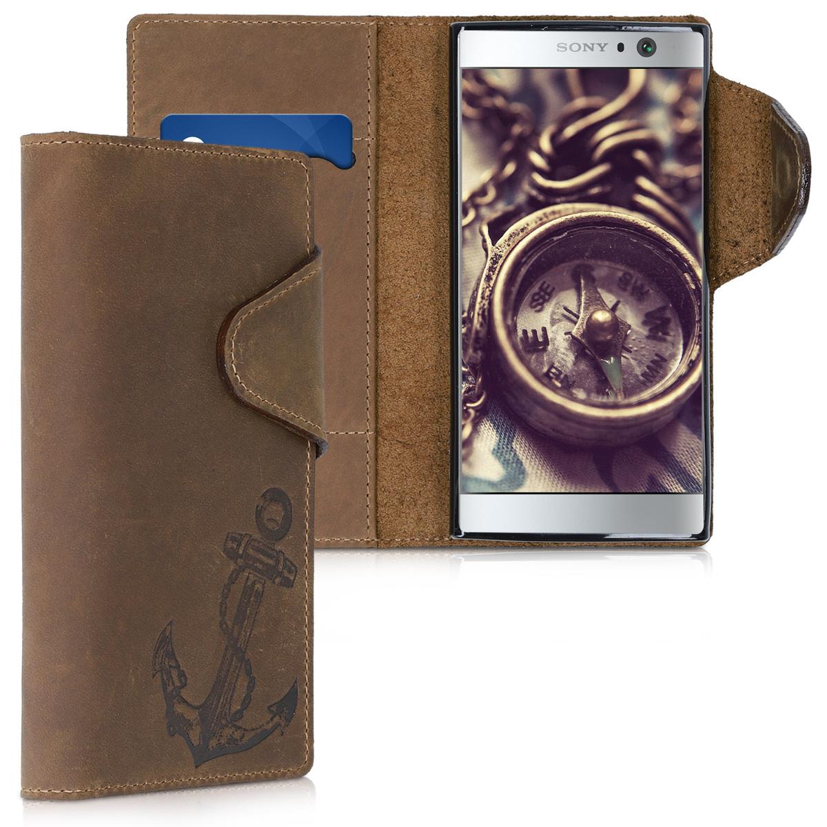Kožené pouzdro | obal pro Sony Xperia XA2 - Vintage Anchor hnědé