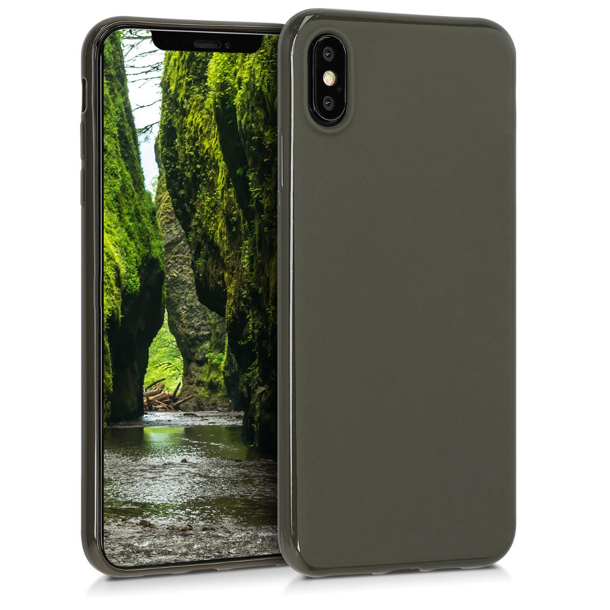 Kvalitní silikonové TPU pouzdro pro Apple iPhone XS Max - Olive Green Matte