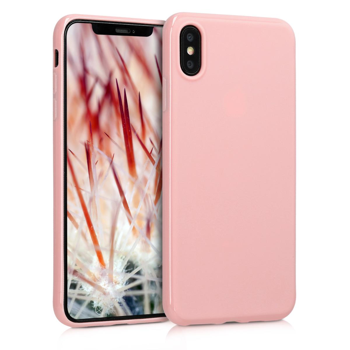 Kvalitní silikonové TPU pouzdro pro Apple iPhone XS Max - Rose Gold Matte