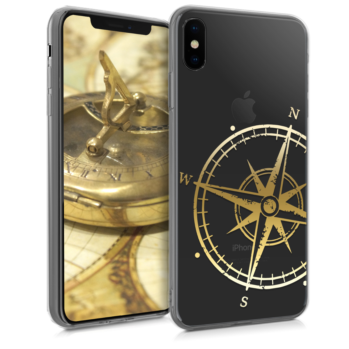 Kvalitní silikonové TPU pouzdro pro Apple iPhone XS Max - Navigační Compass Gold | Transparent