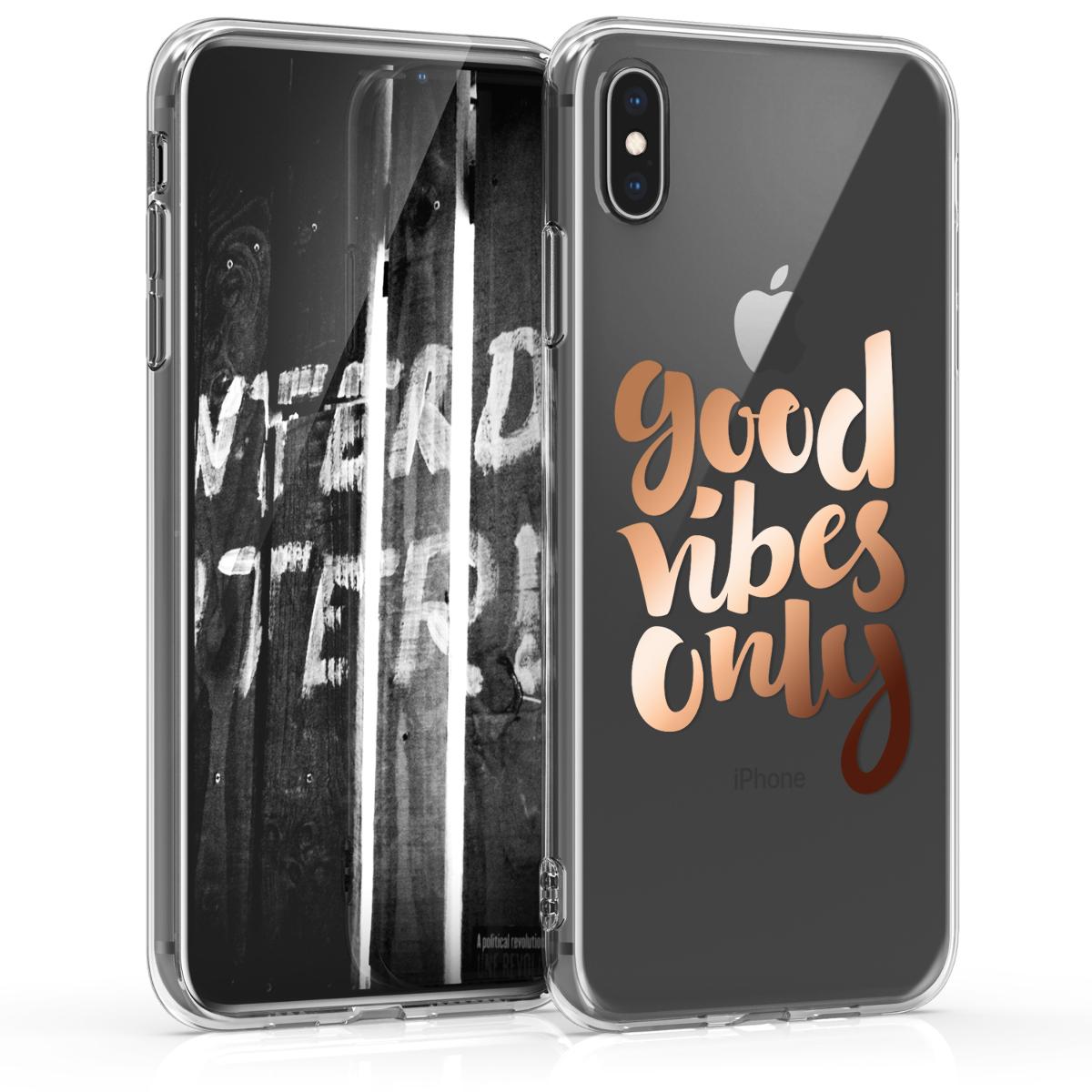 Kvalitní silikonové TPU pouzdro pro Apple iPhone XS Max - Good Vibes fráze Rose Gold | Transparent