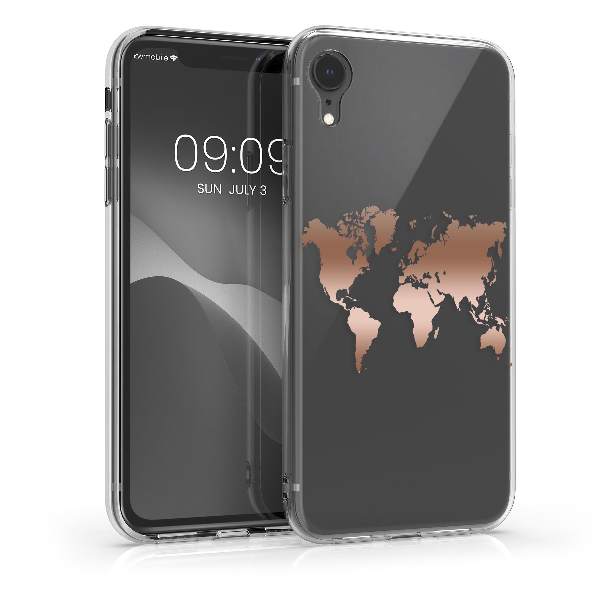 Kvalitní silikonové TPU pouzdro pro Apple iPhone XR - Travel Outline Rose Gold | Transparent
