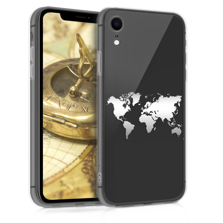 Kvalitní silikonové TPU pouzdro pro Apple iPhone XR - Travel Outline Silver | Transparent