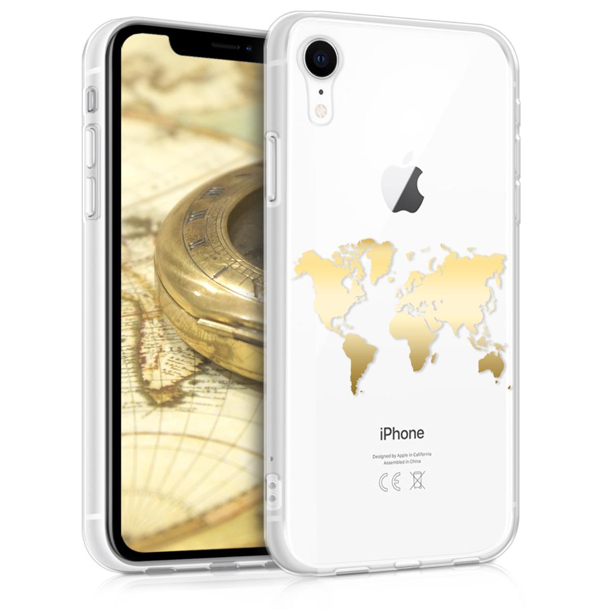 Kvalitní silikonové TPU pouzdro pro Apple iPhone XR - Travel Outline Gold | Transparent