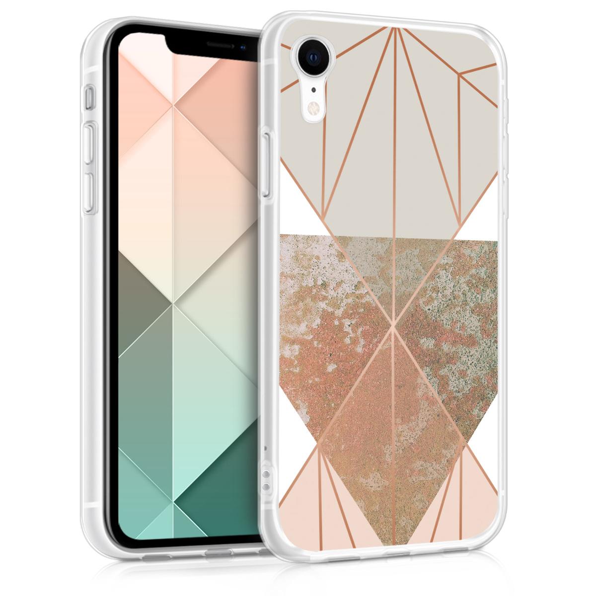 Kvalitní silikonové TPU pouzdro pro Apple iPhone XR - Trojúhelníkové tvary Beige | Rose Gold | White