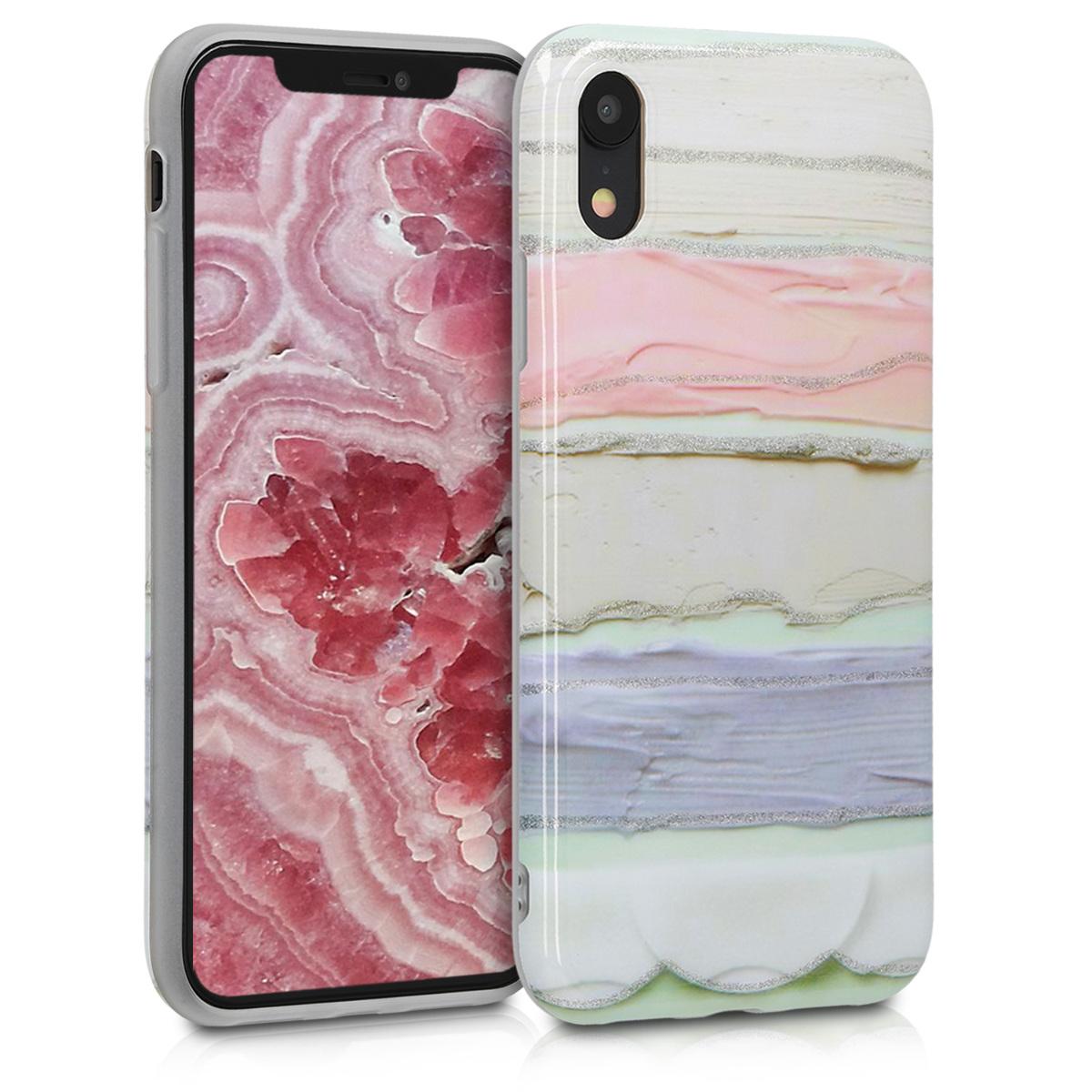 Kvalitní silikonové TPU pouzdro pro Apple iPhone XR - Třpytivé Color Stříknutí Světle růžová | fialová | Mint